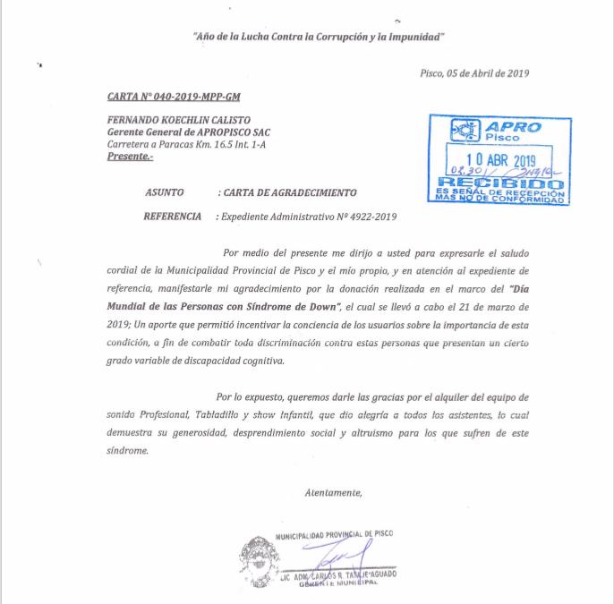 Carta de agradecimiento, Municipalidad Provincial de Pisco